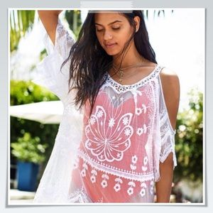 White Lace Cold Shoulder Cover-Up/Dress